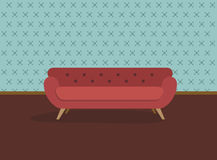 Retro red sofa and wall paper. Flat design vector illustration Stock Images
