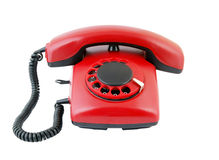 Retro red telephone isolated Stock Photo