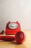 Retro Red Telephone with Off Hook Receiver Stock Image