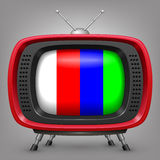 Retro red tv with color strips Royalty Free Stock Images