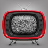Retro red tv with noise Stock Photo