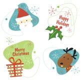 Retro Reeks 1 van Kerstmis Royalty-vrije Stock Afbeelding