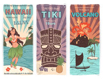 Retro reeks banners met Hawaiiaanse symbolen Stock Afbeelding