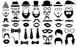 Retro reeks van de Partij glazen, hoeden, lippen, snorren, band, baard, monocle, pictogrammen Vectorillustratiesilhouet Royalty-vrije Stock Foto's