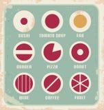 Retro reeks voedselpictogram, pictogrammen en symbolen Royalty-vrije Stock Afbeeldingen