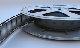 Retro reel film movie. Retro reel film close-up. 3d render image Stock Photos