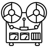 Retro reel to reel tape recorder stock illustration