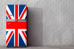 Retro refrigerator with the British flag. 3d Rendering Royalty Free Stock Photography