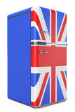 Retro refrigerator with the British flag on the door Royalty Free Stock Photos