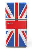 Retro refrigerator with the British flag on the door Royalty Free Stock Photo