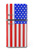 Retro refrigerator with the USA flag on the door Royalty Free Stock Photos