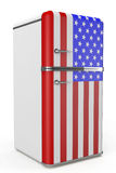 Retro refrigerator with the USA flag on the door Stock Images