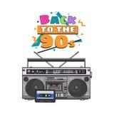 Retro registratore di cassetta audio di stile, scatola di asta del ghetto da 90s royalty illustrazione gratis