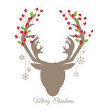 Retro reindeer and Red Berry for Christmas card Stock Photos