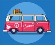 Retro reisbestelwagen stock illustratie