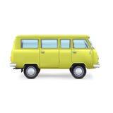 Retro reisbestelwagen op witte achtergrond Stock Foto's