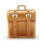 Retro- Reisetasche gemacht mit Ledergürteln Stockbilder