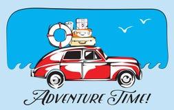 Retro Reiskaart Oude Auto met van het Reisbagage en Avontuur Tijd het Van letters voorzien Vector illustratie Royalty-vrije Stock Afbeeldingen