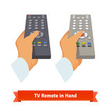 Retro remote control in hand. Flat style illustration. EPS 10 vector Stock Photos