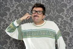 retro rengörande smutsig nerd för örafingerman Royaltyfri Fotografi