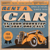 Retro Rent a Car Poster Stock Photos