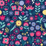 Floral seamless vector folk art pattern - hand drawn vintage Scandinavian style textile design with pink and yellow flowers stock illustration
