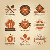 RETRO RESTAURANGLOGO royaltyfri illustrationer