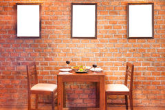 Retro restaurant interior with thai food and red wine Stock Image