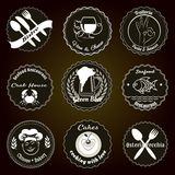Retro restaurant menu badges Royalty Free Stock Photography