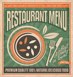 Retro restaurant menu poster design. Vegan food promotional menu template. Plate full of delicious food with knife and fork.Vintage background concept with Royalty Free Stock Photo