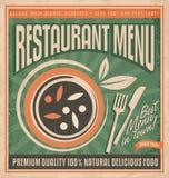 Retro restaurant menu poster design. Royalty Free Stock Photo