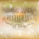 Retro restaurant poster on yellow blurred background Stock Photo