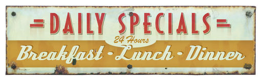 Retro Restaurant Sign. Specials Breakfast Lunch Dinner stock photography