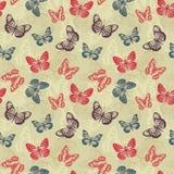Retro reticolo con le farfalle Fotografia Stock