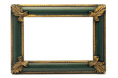Retro Revival Old Gold and Green Frame (No#1). Retro Revival Old Gold and Green Frame, on white background Stock Photo