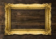 Retro Revival Old Gold Rustic Picture Frame royalty free stock image