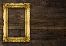 Retro Revival Old Gold Rustic Picture Frame royalty free stock images