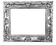 Retro Revival Old Silver Frame. Old Silver Picture Frame on white background Royalty Free Stock Photography