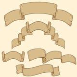 Retro ribbon banner set design element Stock Photos