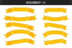 Retro ribbon banners in hand drawn engraving style vector. stock illustration