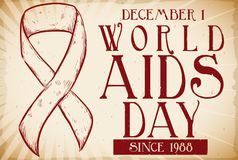 Retro Ribbon in Hand Drawn Style for World AIDS Day, Vector Illustration. Commemorative retro banner for World AIDS Day, commemorating this date since 1988 with Stock Photography