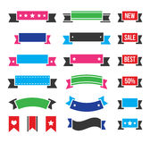 Retro ribbons, colorful vintage bookmarks set -. Styled as old ribbons labels set isolated on white in pink, red, blue, green Royalty Free Stock Photography