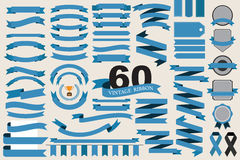 60 retro ribbons and labels Royalty Free Stock Photos