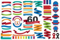 60 retro ribbons and labels Stock Photos
