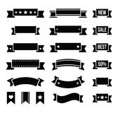 Retro ribbons, vintage bookmarks set -. Styled as old ribbons labels set isolated on white Stock Photos