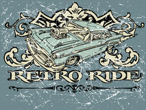 Retro Ride. Vintage old t shirt design Royalty Free Stock Images
