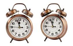 Retro ringklocka på `-klockan för nolla tolv, isolat Royaltyfri Foto