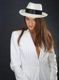 Retro ritratto in cappello bianco Fotografia Stock