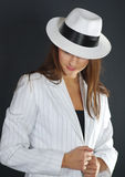 Retro ritratto in cappello bianco Fotografia Stock Libera da Diritti