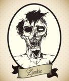 Retro ritratto del giovane zombie maschio, illustrazione di vettore Fotografia Stock Libera da Diritti